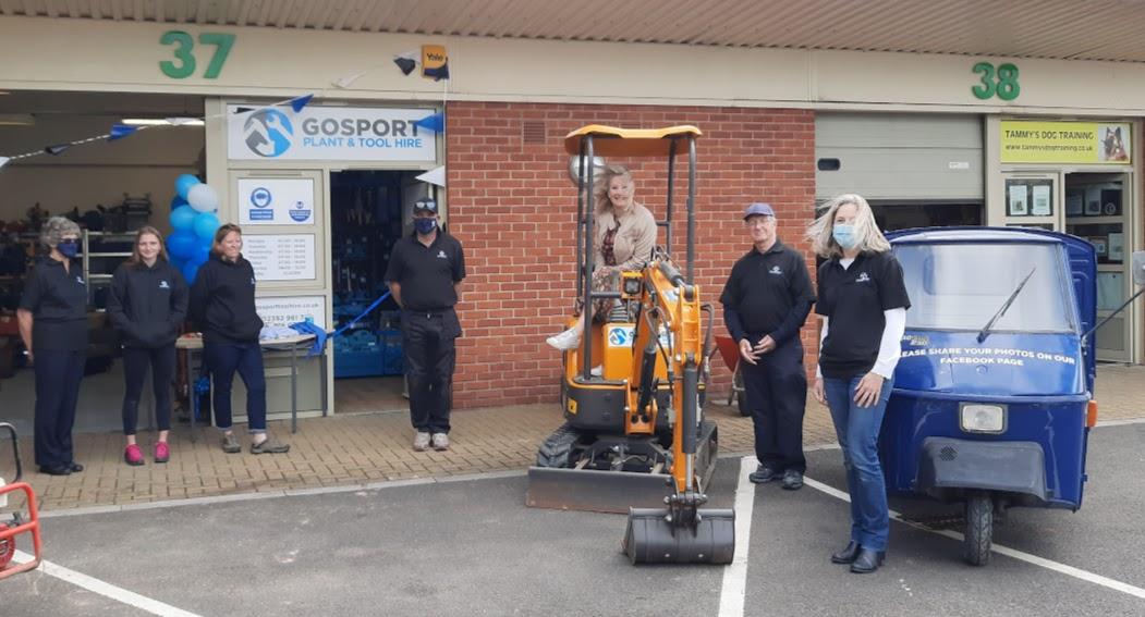 GRAND OPENING: Caroline Dinenage with Gosport Tool and Plant Hire staff at their Aerodrome Road premises